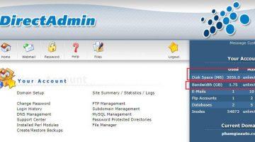 Kiểm tra dung lượng hosting direct admin