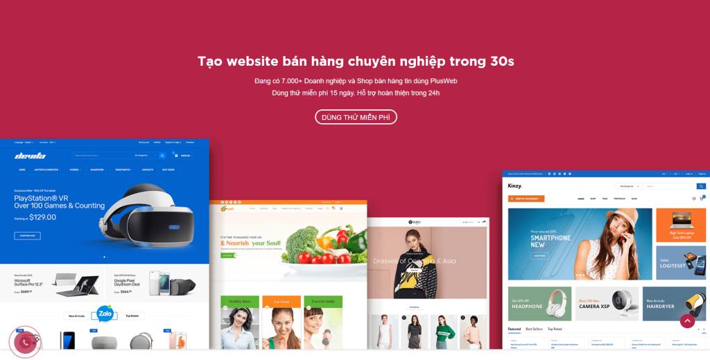 Ưu điểm của dịch vụ tạo website tự động Plusweb