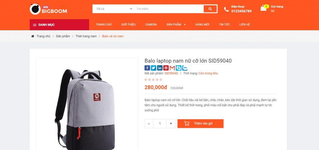 Mẫu giao diện Website bán hàng