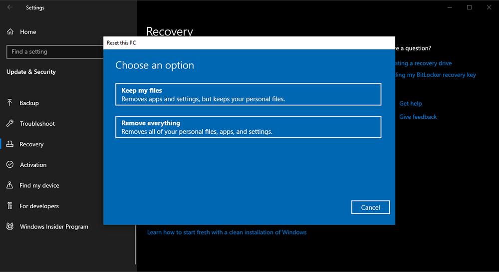 reset Windows 10 về trạng thái ban đầu